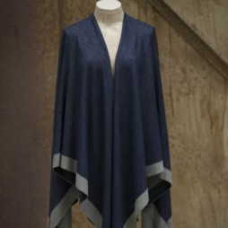 Tutti and Co Square Soft Cotton Navy Silver Poncho