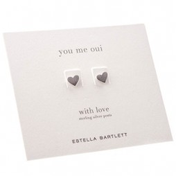 Estella Bartlett Silver Plated Mini Heart Stud Earrings