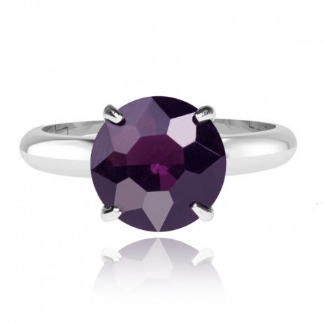 Joma Jewellery Nellie Purple Silver Plated Ring Adjustable