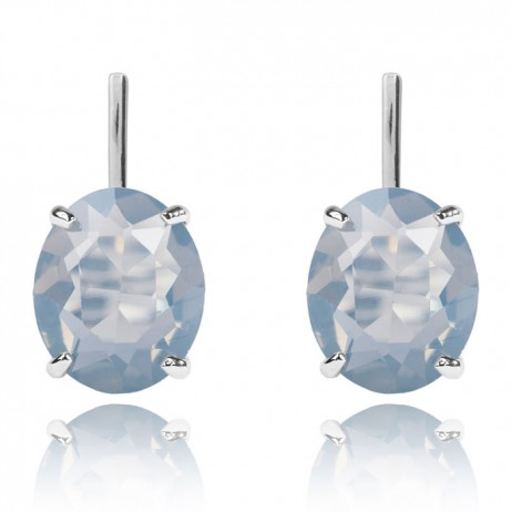 Joma Nellie Silver Plated Smokey Grey Crystal Earrings