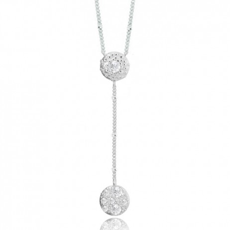 Joma Jewellery Liana Silver Pave Disc Lariat Necklace 1421