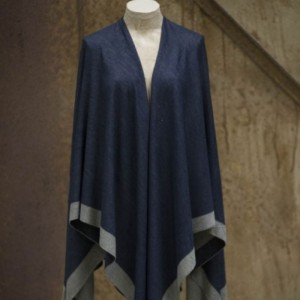 Square Soft Cotton Navy Silver and Grey Poncho