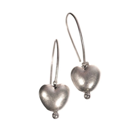 Hot Tomato Jewellery Silver Heart Drop Earrings