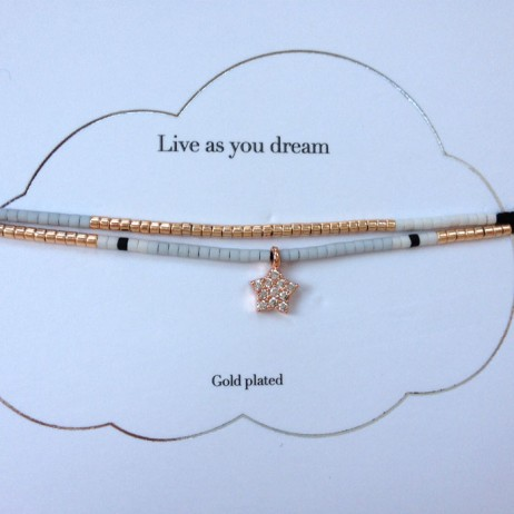 Estella Bartlett Live as You Dream Bracelet with Rose Gold Cubic Zironia Star