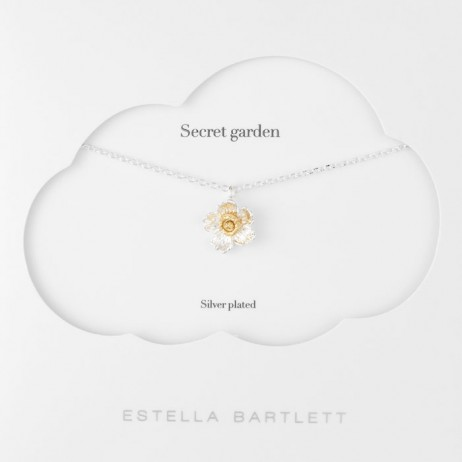 Estella Bartlett Silver Plated Poppy Flower Necklace