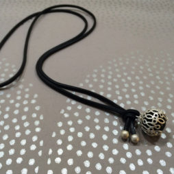 Sence Copenhagen Champagne Silver Plated Black Agate Necklace