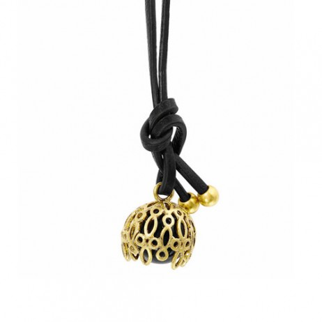 Sence Copenhagen Champagne Gold Plated Black Agate Necklace