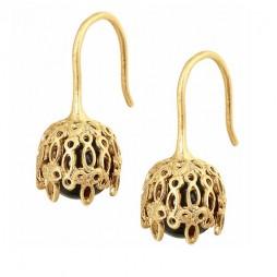 Sence Copenhagen Champagne Gold Plated Black Agate Earrings