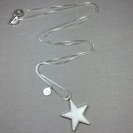 Sence Copenhagen Silver Plated White Jade Star Necklace