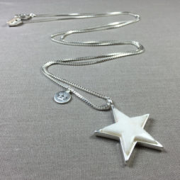 Sence Copenhagen Silver Plated White Jade Star Necklace
