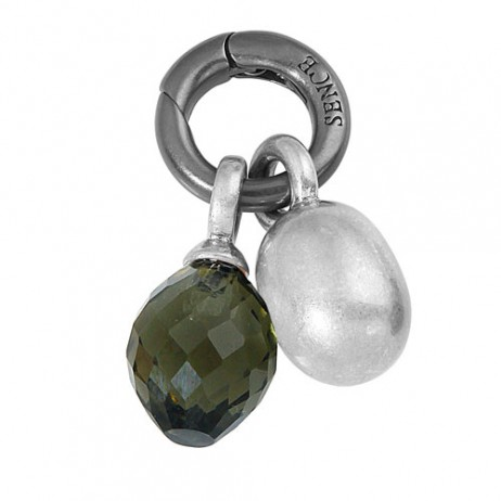Sence Copenhagen Grey with Worn Silver Drop Charm Pendant