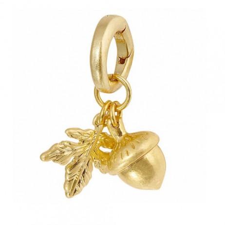 Sence Copenhagen Acorn with Leaf Worn Gold Drop Charm Pendant