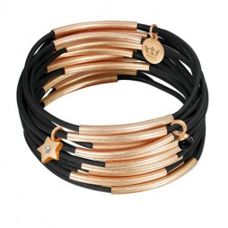 Sence Copenhagen Rose Gold Plated with Black Urban Gipsy Bracelet