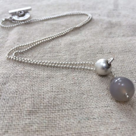Sence Copenhagen Silver Plated Grey Agate Dainty Necklace