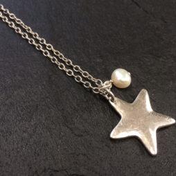 Danon Long Silver Star Necklace