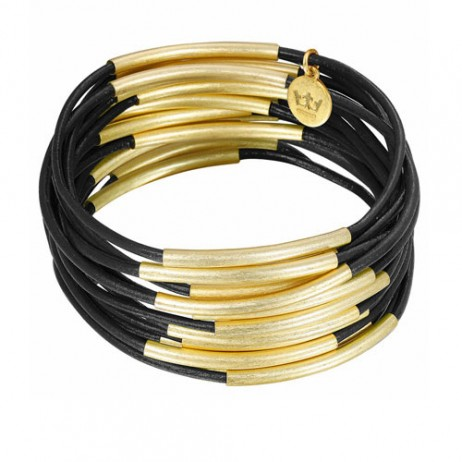 Sence Copenhagen Gold Plated with Black Urban Gipsy Bracelet
