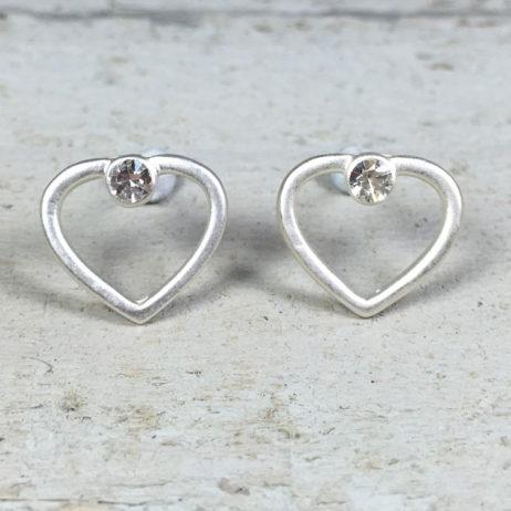 Hot Tomato Jewellery Silver Crystal Heart Stud Earrings