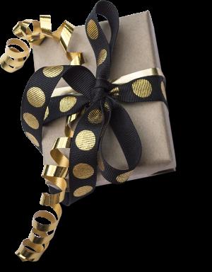 box with black ribbon