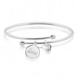 Joma Jewellery Silver Love Heart Story Bangle 1350