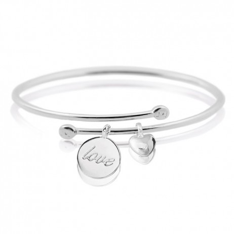 Joma Jewellery Silver Love Heart Story Bangle 1350 EOL