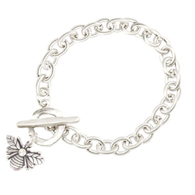 Danon Jewellery Silver Bee Bracelet with Crystal
