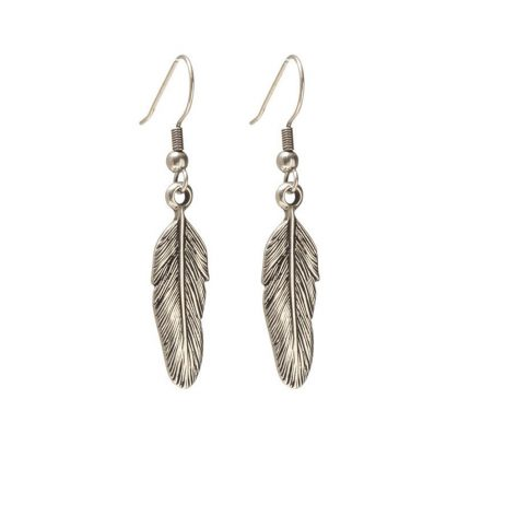 Danon Silver Plated Feather Drop Earrings - EOL