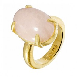 Sence Copenhagen Gold Plated Rose Quartz Ring