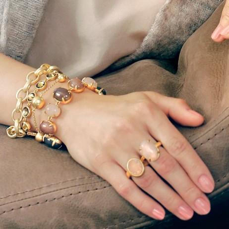 Sence Copenhagen Gold Plated Rose Quartz Ring