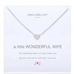 Joma Jewellery a little Wonderful Wife Silver Pave Heart Necklace