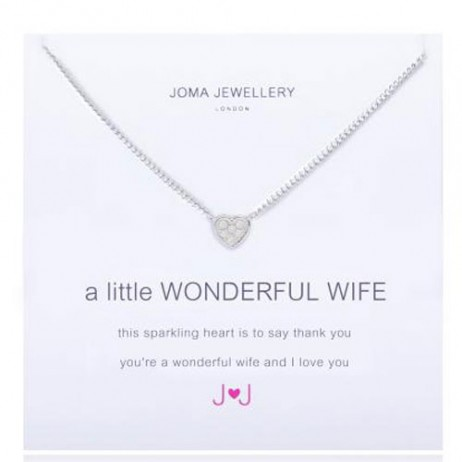 Joma Jewellery a little Wonderful Wife Silver Pave Heart Necklace 1482