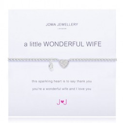 Joma Jewellery a little Wonderful Wife Silver Pave Heart Bracelet 1483 *