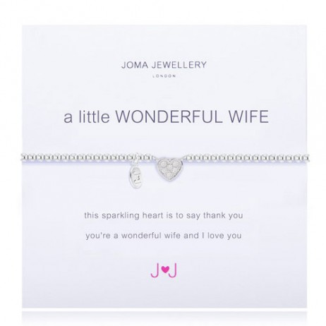 Joma Jewellery a little Wonderful Wife Silver Pave Heart Bracelet