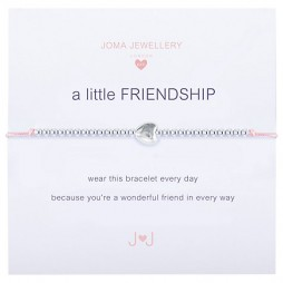 Joma Jewellery Children's Friendship Pink Cord Silver Heart Bracelet