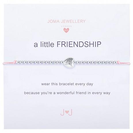 Joma Jewellery Children's Friendship Pink Cord Silver Heart Bracelet