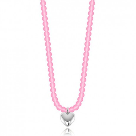 Joma Girls Pink Effie Silver Plated Heart Necklace