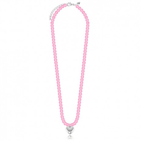 Joma Girls Pink Effie Silver Plated Heart Necklace C233