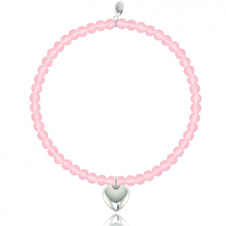 Joma Girls Pink Effie Silver Plated Heart Bracelet