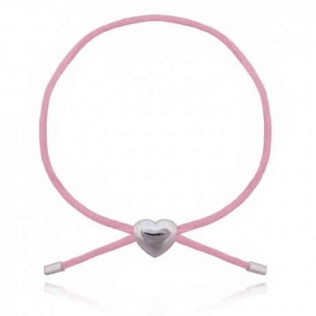 Joma Jewellery Children's Lily Friendship Pink Cord Silver Heart Bracelet