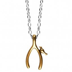 Hultquist Jewellery Silver and Gold Wishbone Long Necklace