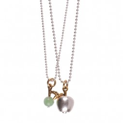 Hultquist Silver Apple Necklace with Gold Leaf Jade Stone