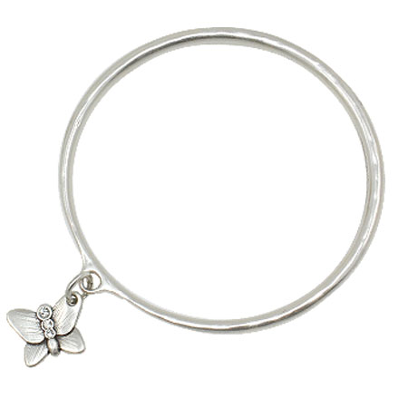 Danon Jewellery Silver Butterfly Bangle with Crystals