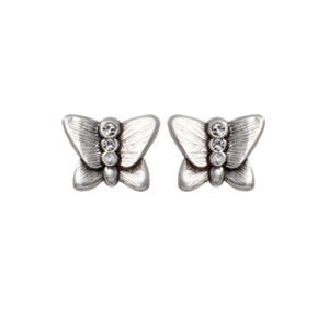 Danon Silver Butterfly Stud Earrings with Swarovski Crystals