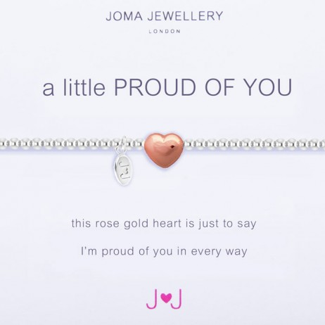 Joma Jewellery a little Proud of You Silver Rose Gold Heart Bracelet