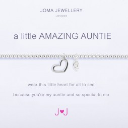 Joma Jewellery a little Amazing Auntie Silver Heart Bracelet