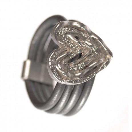 Hot Tomato Jewellery Silver Grey Ripple Heart Ring