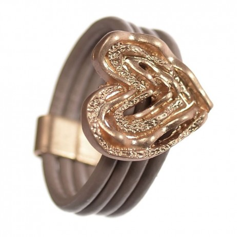 Hot Tomato Jewellery Nude Rose Gold Ripple Heart Ring - EOL