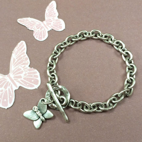 Danon Jewellery Silver Butterfly Bracelet with Crystals