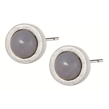 Sence Copenhagen Signature Earrings Grey Agate Worn Silver
