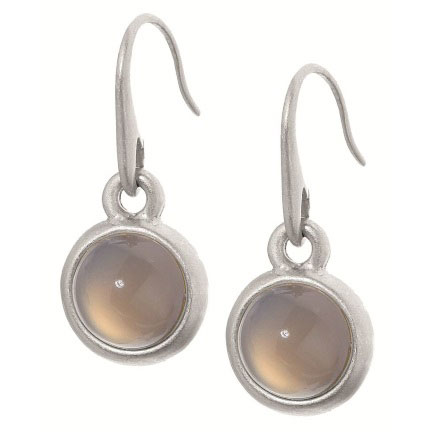Sence Copenhagen Signature Grey Agate Worn Silver Earrings