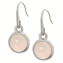 Sence Copenhagen Signature Earrings Rose Quartz Worn Silver